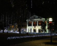 Campus illuminated for the holiday season